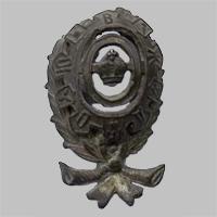 Знак на головной убор служащего Общества Юго-Восточных ж.д. «О.Ю.В.Ж.Д.» (Тип 6)