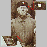 Пример ношения знака на головном уборе служащего Общества Юго-Восточных ж.д.