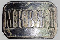 Пряжка на ремень служащего Московско-Киево-Воронежской ж.д. «М.К.В.Ж.Д.» (Тип 6)