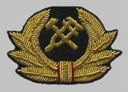 Технический знак на головной убор для высшего начальствующего состава МПС образца 1955 года (вышитый)