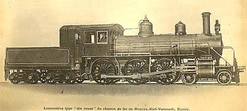 Четырехцилиндровый паровоз 2-3-0 АВ Московско-Киево-Воронежской жд с компаунд машиной системы Воклена постройки завода Балдвин 1899 года. Имели номера от АВ80 до АВ99, с 1900 - Кб1101-Кб1120.  Другими жд в период с 1895 по 1899 было закуплено еще 60 таких паровозов, имевших другие серии на этих дорогах. С 1912 г. всем паровозам 2-3-0 с машиной Воклена была присвоена серия В по имени инженера Воклена. Точное место и время съемки неизвестно, предположительно - заводской снимок 1899 года