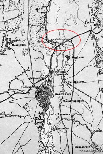 Станция Раздельная (Отрожка) на 3-х верстовой карте Воронежской губернии напечатанной в 1919 году