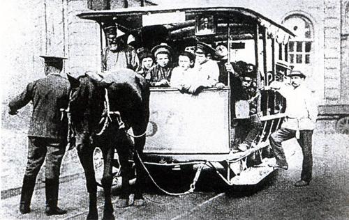 Конка у воронежского вокзала (1914 год)
